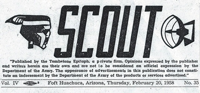 Fort Huachuca Scout Newspaper 1958